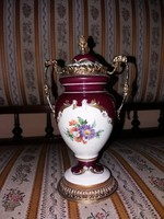 Gyönyörű régi cseh? Fedeles porcelán dísz váza