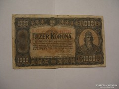 1000 Korona 1923 Magyar Pénzjegynyomda.