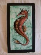 Jelzett kerámia falikép csempekép csikóhal