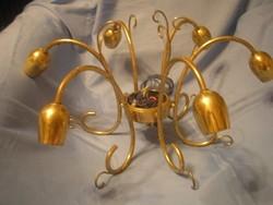 Csillár,aranyszínű fém 6 ágú,