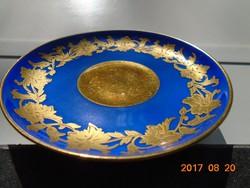 Királykék-kézzel festett arany virág mintás számozott tányér-11 cm-
