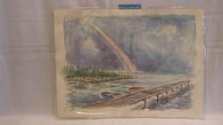 Földházy Béla akvarell kikötő szivárvány